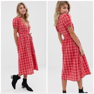 INFLUENCE | GINGHAM WRAP COTTAGE CORE MIDI DRESS